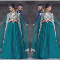 Wholesale Teal V Neck Gowns - 2017 Sexy Teal Green Tulle Prom Dresses With Cape V Neck Lace Appliques Beaded Muslim Beaded Long Party Dress Plus Size Evening Gowns