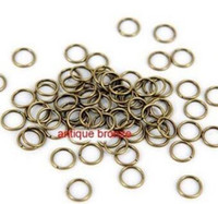Wholesale Metal Alloy Ring Antique - 500 pcs 4mm 5mm 6mm Brass Open Jumprings Antique Brass Tone Metal Bronze Jump rings - split rings DIY supplies jewelry accessories