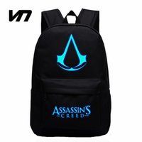 Wholesale Design Mini Fan - Wholesale- VN 2016 New Design Assassins Creed Backpacks Luminous 5 Colors Backpack Canvas Printing School Bags For Teenagers Game Fans Gift