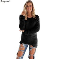 Wholesale Womens Warm Winter Sweaters - Wholesale-Sagace 3 Colors Autumn Winter Womens Casual Solid Long Sleeve Fleece Sweaters Soft Warm Knitted Pullovers Lady Camisola Sep30