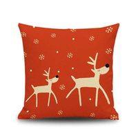 Wholesale Cushion Cover Cores - Christmas decoration Pillow cushion covers Without Pillow core 45*45cm Christmas red elk lover gifts Pillow Case Cover Car Decor wholesale