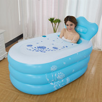 Wholesale Bathtub Inflatable Pool - Wholesale- Small size Pool adult folding Thickening warm keeping PVC tub Inflatable Portable bath barrel bathtub 130x80x48cm