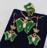 Wholesale Green Jade Butterfly Earrings - Free Shipping ***Jewelry 18K GP butterfly green jade pendant Necklace earrings ring set