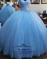 Wholesale Princess Prom Puffy Dress - Princess Blue Ball Gown Quinceanera Prom Dresses 2017 Real Images Off Shoulder Vintage Lace Sequined Puffy Tulle Sweet 16 Masquerade Gowns