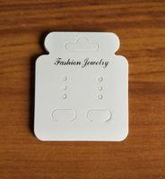 küpe ekran asma kart toptan satış-200 Adet Beyaz DIY Kağıt Takı Ambalaj Asılı Asılı Küpe Kart Yüksek Kalite Kağıt Ekran Kartı Etiketleri Asmak