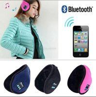 Wholesale leather earmuffs resale online - Wireless Bluetooth Earmuffs Music Headset Stereo Headphone Winter Warm Leather Earmuff Speaker Colors OOA3095