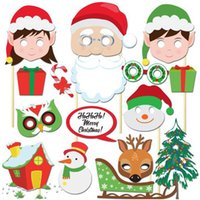 Wholesale Wholesale Mustache Candy - Christmas Party Photo Props Masks 6 Styles White Mustache Santa Claus Hats Candy Rabbit Antlers Glasses Tie Slogan Photo Booth Props