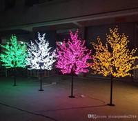 arbre led artificiel jardin achat en gros de-2M 6.5ft Hauteur LED Artificielle Arbre De Fleur De Cerisier Lumière De Noël 1152pcs LED Ampoules 110 / 220VAC Rainproof fairy garden Noël décor