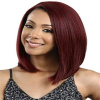 Wholesale Sell Wigs Wholesale - New Arrival Human Hair Wig Straight Short Cut Wigs For women wine red straight hair Hot selling Wig Simulation Human Hair bea407