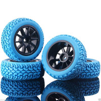 Wholesale Electric Rc Car Wheels - RC HSP 910-8019 Wheel Plastic Rim & Rally Tires Blue For 1:10 On-Road Rally Car