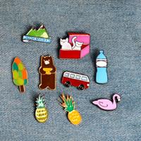"Wholesale Bear Wedding Bag - Cartoon Pineapple Soft Drinks Swan Bear Cat ""LOVEMYLIFE"" Tree Brooch Pins Badge Collar Bag Decorative Accessories"