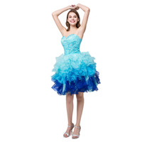 Wholesale Tiered Cocktail Dresses Pleats - White Green Blue cocktail dresses Sexy Sweetheart Beaded Organza cocktail party dresses Mini Short Prom Dresses