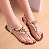 Wholesale Folder Cottons - Sexy Bohemian bead sandals Sweet national wind folder feet flat soles sandals