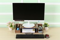 Wholesale DIY Wood Computer Stand Riser Monitor shelf Holder Desktop Office supplies Organizer Storage for Home Office