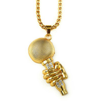 Wholesale Hand Held Mic - Hip Hop Diamante Vacuum Plating Hand-Hold Microphone Bling Bling Fashion MIC Necklace For Men Women Gifts