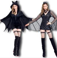 черные костюмы летучих мышей оптовых-Женщины Новый Косплей Платье Черный Летучая Мышь Вампиры Дьяволы Косплей Костюм Животных Тема Хэллоуин Одежда