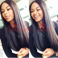 Wholesale Cheap Wigs Long Black Hair - Top Selling Cheap Synthetic Lace Front Wigs Long Black Silky Straight Wig Glueless Hair Middle Parting Full Lace Wigs For Black Women