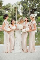 Wholesale Outdoor Bridesmaid Dresses - Simple Outdoor Long Bridesmaid Dresses Sheath Cap Sleeve Ruffles Neck Floor Length 2017 Wedding Guest Party Dress Maid of Honor Gowns Cheap