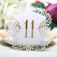 Wholesale Rustic Wedding Table Numbers - Wholesale- 10pcs set Ivory Hollow Lace Table Number Table Cards from 11 to 20 Rustic Wedding Centerpieces Vintage Event & Party Supplies