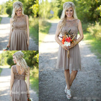 Wholesale Grey Knee Length Bridesmaid Dresses - 2017 Silver Grey Short Bridesmaid Dress Chiffon Lace Maid of Honor Dress For Wedding Guest Gown Plus Size For Country Garden Cheap