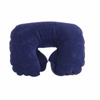 Wholesale Cotton Cervical Travel Pillows - Wholesale- Inflatable U Shape Auto Flight Travel Camping Mat Pillow Cotton Neck Rest Pillow For Relieving Cervical Fatigue Free Shipping