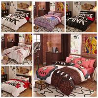 Wholesale Cotton Leopard Sheets - Pink Bedding Set VS Duvet Covers Pink Letter Bed Sheet Bedclothes Set Leopard Flower Pillowcases Fashionable Bedding Home Textiles OOA1067