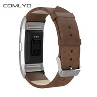 Wholesale Leather Sports Wristbands - Leather strap For Fitbit charge 2 Band Metal head smart bracelet for charge 2 replacement strap Sports wristband stainless steel adapter