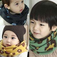 Wholesale Baby Girl Leopard Scarf - Wholesale- Warm Baby Kids Girl Boy Leopard Printed Snood Scarf Scarves Neckerchief 1-8Y