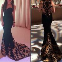 Wholesale Decent Gowns - 2017 Decent Black Mermaid Evening Dresses Formal Gowns Sweetheart Slim Bodice Sheer Back Lace vestidos de festa