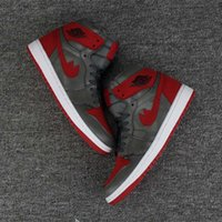 Wholesale Air F - AIR 1 RETRO High Shadow Camo Basketball Shoes (Gray red) High quality new retro 1s F men Sport SNEAKERS Reflective shoes 40-46