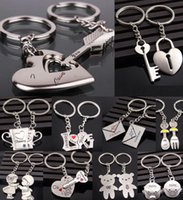 Wholesale Lover Couples - Alloy Keychain Cupid arrow couple key chain lovers pendant key ring key chain for lovers 19 styles
