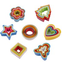 Wholesale Plastic Ring Mold - Multi style cookies cutter Colorful plastic mousse ring Heart shape etc diy cake mold decor edge cutter