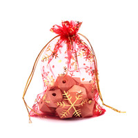 New Drawstring Organza Bags Atacado 500pcs / lot 6 * 8cm Red White Snowflake Natal Embalagem Storage Display Bags Small Candy Pouch