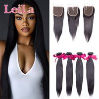 Wholesale Extentions Human - Peruvian Virgin Hair Straight Hair Bundles With Closure 4Pcs Lot 3 Bundles With 4X4 Free Closure 100% Human Hair Extentions weave