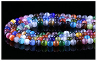 Wholesale Wholesale String Glass Beads - HOT SALE 7 sizes multicolor cat eye loose round glass beads string jewelry DIY