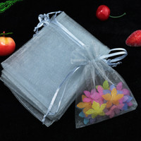Wholesale Jewelry Gray Pouch - Wholesale 200pcs lot,Drawable Gray Large Organza Bags 17x23 cm, Favor Wedding Gift Packing Bags,Packaging Jewelry Pouches