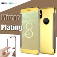 Placage En Cuir Pas Cher-Pour iPhone X Case Miroir Vue Transparent Flip Plating Holder Slim PC + Cuir Chrome Smart Béquille Sleep Wake Cover Pour iPhone 8 7 Plus 6 6S