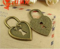 Wholesale Metal Charms Pendant Heart Lock - 25*40MM Retro vintage bulk heart lock charms handmade DIY accessories wholesale, Antique bronze Zinc alloy metal pendant jewelry