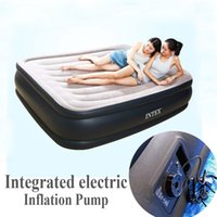 Wholesale Mattress Bedroom - Wholesale- Intex 67738 two person double size integrated electric pump air bed airbed bedroom furniture pvc inflatable 152*203*43cm