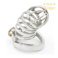 Wholesale Stainless Steel Chastity Long - New Male Chastity Device Long Bird Cage Stainless Steel Chastity Belt CD101-1