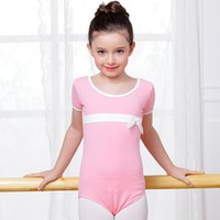 Wholesale Tie Collar For Girls - 2017 New Hot Ballet Dance Tank-Tops Round Collar Butterfly Tie Training Clothes 3Colors Cotton Disfraces Leotard For Girl KidsDQ8017