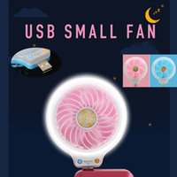 Wholesale Mini Hand Fan Battery - 2017 new Mini fans portable USB Led light hand Fans Without battery USB small fan luminous light beauty fill light fan multi-purpose type