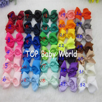 Wholesale girls small hair bows - 32pcs lot 3inch Cute Small Hair bows Kids Hairpins WITH CLIPS Girls Headwear Hair Accessories Free Shipping