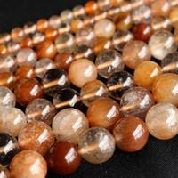 """Wholesale Rutile Quartz Bracelets - Wholesale- Wholesale Clear Natural Genuine Mix Hair Rutile Quartz Round Loose Stone Beads 3-18mm DIY Necklaces or Bracelets 15"""" 04036"""