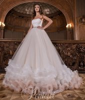 Wholesale Two Toned Tulle Strapless Dress - Tiered Wedding Dresses 2017 Hot Sale with Flying Cloud Skirt and Strapless Neckline Princess Bridal Dress with Sash Two Tones