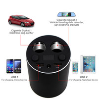 Wholesale Multi Port Car Chargers - LED Display Multi Function Car Cup Charger Power Adapter with Dual USB Charging Ports and 2 Cigarette Lighter Splitter Sockets CEC_62G