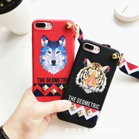 Wholesale Tpu Animals - 3D Europe Animal Tiger & Rabbit Stud Rivet Wrist Strap Case for Apple iPhone 7 Case for iPhone7 6 6S PLus Soft TPU Cover Lovers