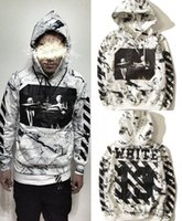 Wholesale Tie Dye Sweaters - Europe and the United States tide brand tie dyed burst male and female skateboard street sweater twill hooded off white