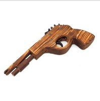 Wholesale Classical Rubber Band Launcher Wooden Pistol Gun Good Christmas Toy