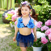 Wholesale Korean Children Swimsuit - Girls Lace Tutu Dress Kids Split princess dress, lace up, Korean girl, baby, child petals Two-Pieces Bikinis Swimsuit Swimwear YAN-118